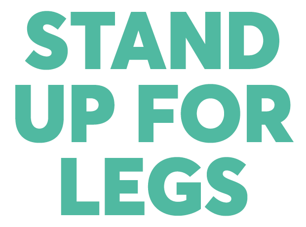 Stand up for legs text banner