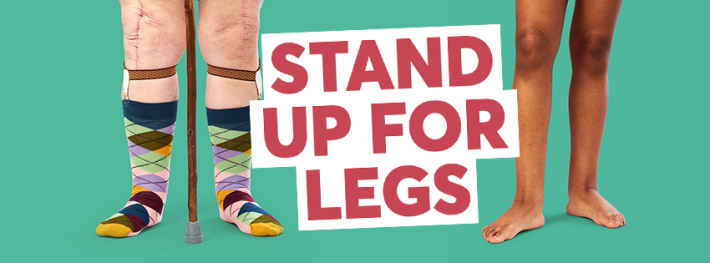 Stand up for legs graphic with two legs