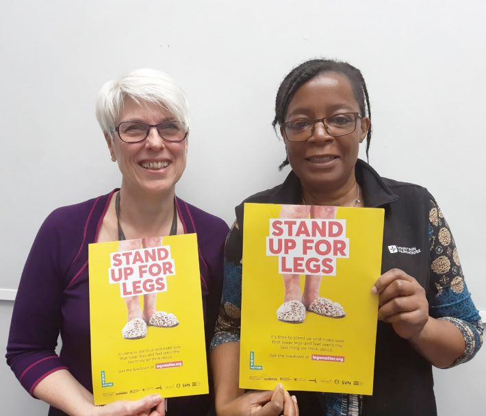 Pamela and Alison Hopkins, CEO, Accelerate, London - Legs Matter Week campaign 2019
