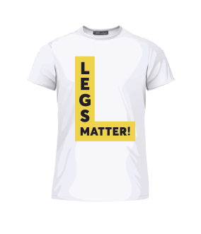 White Legs Matter Tees with a black and yellow logo