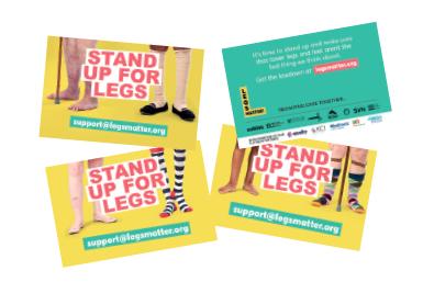Set of three Legs Matter business cards
