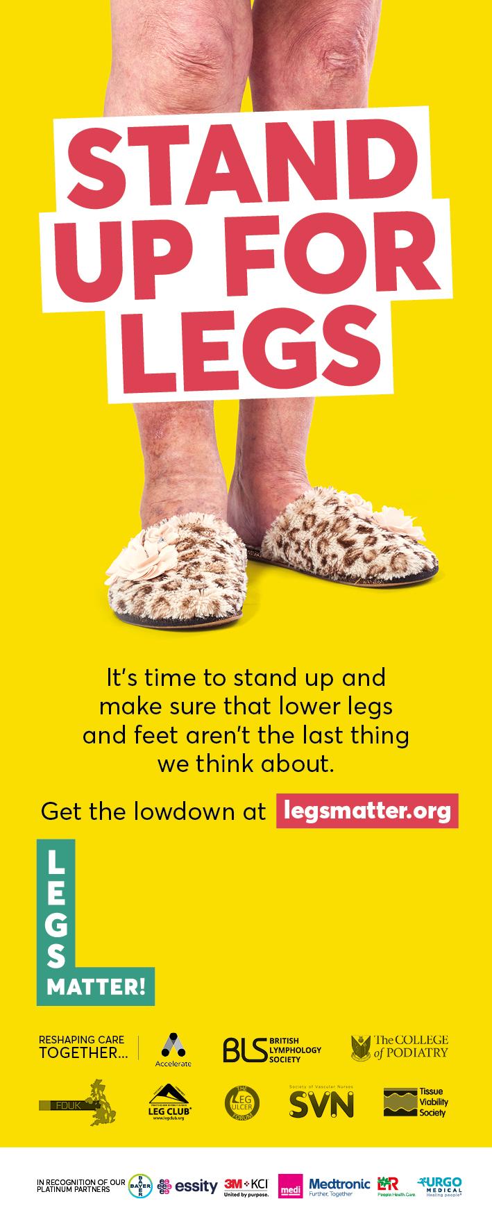 Legs Matter banner stand