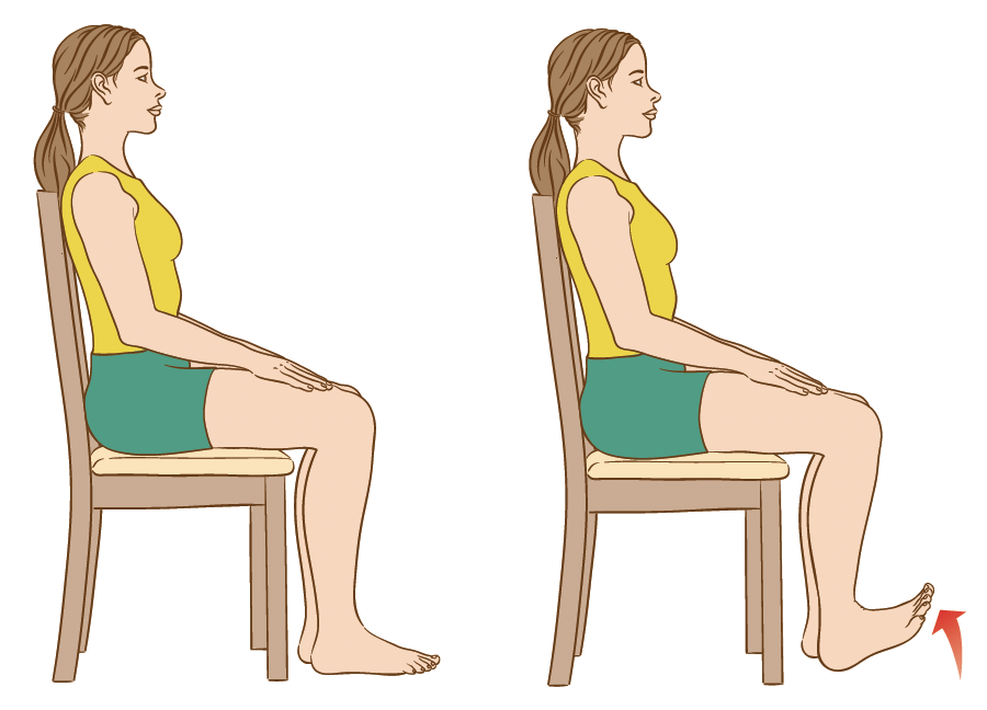 Toe raises exercises for people with leg ulcers during the coronavirus