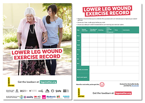 Picture of lower leg wound exercise record
