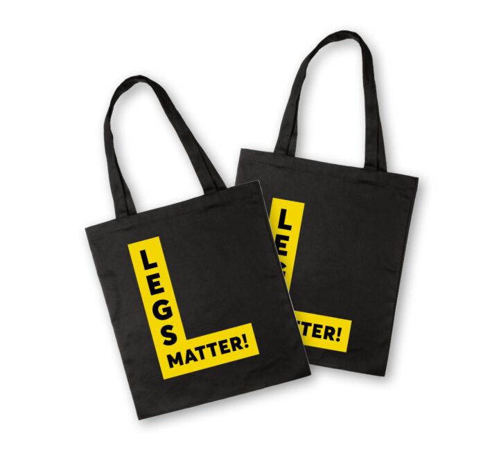 Legs Matter tote bags